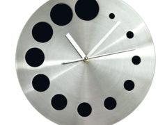 Zegar metalowy srebrno_czarny z grawerowanym ( znakowanym ) logo lub ___